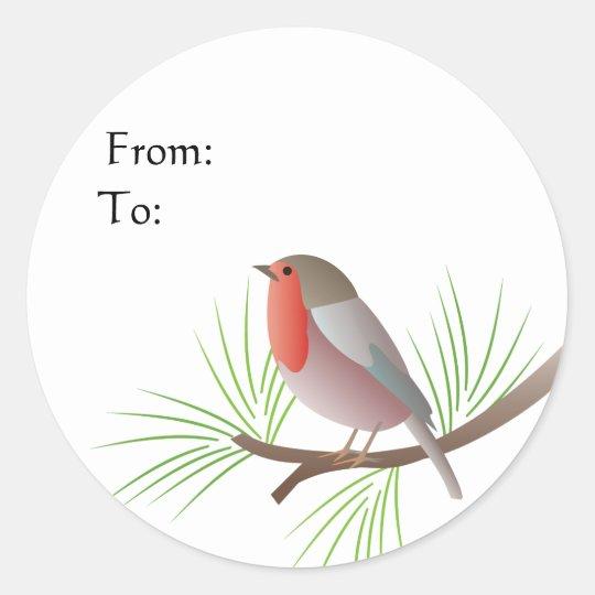 Robin Redbreast Gift Tag Round Sticker
