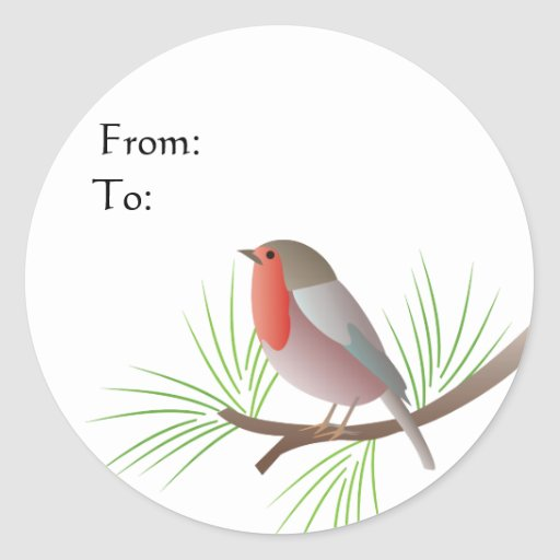 Robin Redbreast Gift Tag Round Stickers