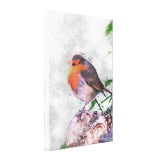 Robin Redbreast Painting Wrapped Canvas