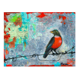 Robin rouge carte postale