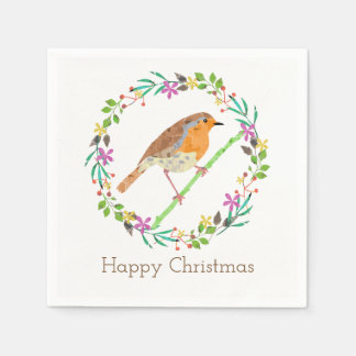 Robin the bird of Christmas Disposable Napkins