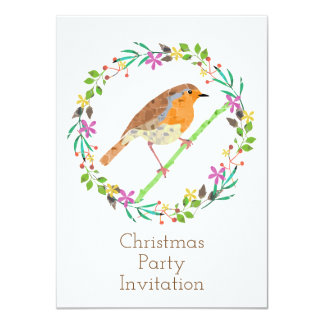 Robin the bird of Christmas Invitation