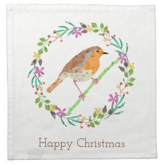Robin the bird of Christmas Napkin