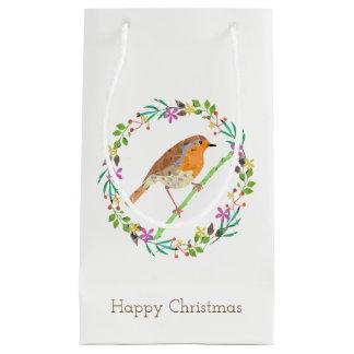 Robin the bird of Christmas Small Gift Bag