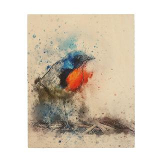 Robin Watercolor on Wood Wood Print