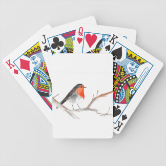 Robin watercolour painting Christmas art Bicycle Playing Cards