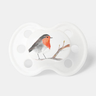 Robin watercolour painting Christmas art Pacifier