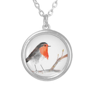 Robin watercolour painting Christmas art Silver Plated Necklace