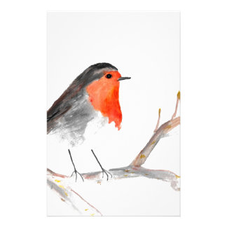 Robin watercolour painting Christmas art Stationery