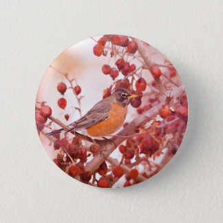 Robin With Red Berries 2 Inch Round Button