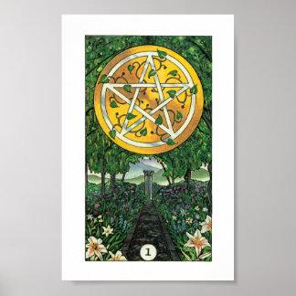 Robin Wood Tarot - Ace of Pentacles Poster