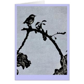 Robin Woodcut Style Greeting Card