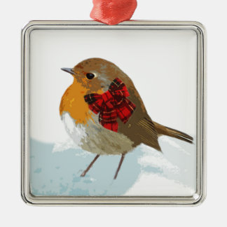 Robins  and Christmas Tartan Bow in Snow Metal Ornament