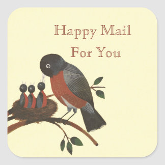 Robins and Nest Happy Mail Labels/Stickers Square Sticker