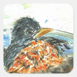 Robin's Bird Bath Square Sticker