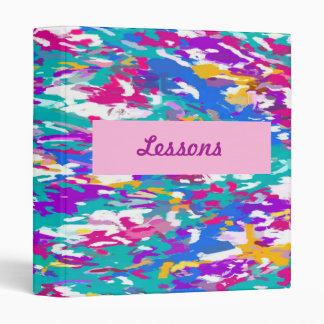 Robin's Egg Blue and Fuchsia Spin Art 3987 Binder