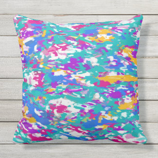 Robin's Egg Blue and Fuchsia Spin Art 3987 Throw Pillow
