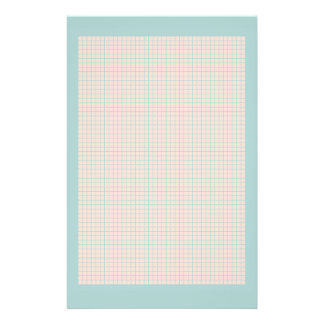 Robin's egg blue and pink grid stationery