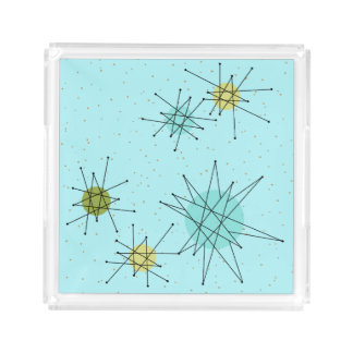 Robin's Egg Blue Atomic Starbursts Acrylic Tray
