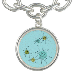 Robin's Egg Blue Atomic Starbursts  Charm Bracelet