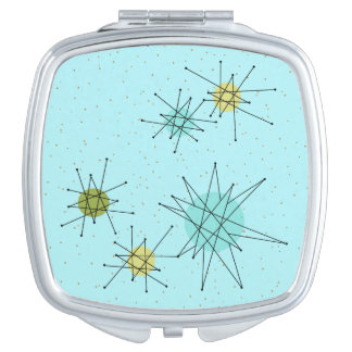 Robin's Egg Blue Atomic Starbursts Compact Mirror