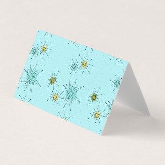 Robin's Egg Blue Atomic Starbursts Folded Card