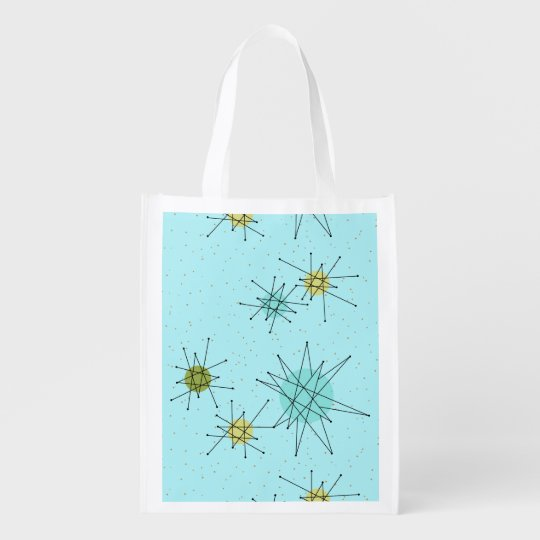 Robin's Egg Blue Atomic Starbursts Grocery Bag