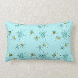 Robin's Egg Blue Atomic Starbursts Lumbar Pillow