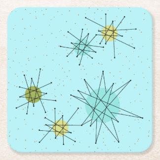 Robin's Egg Blue Atomic Starbursts Paper Coaster