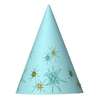 Robin's Egg Blue Atomic Starbursts Party Hat