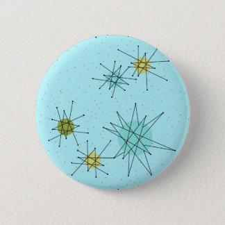 Robin's Egg Blue Atomic Starbursts Round Button