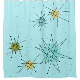Robin's Egg Blue Atomic Starbursts Shower Curtain