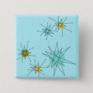 Robin's Egg Blue Atomic Starbursts Square Button