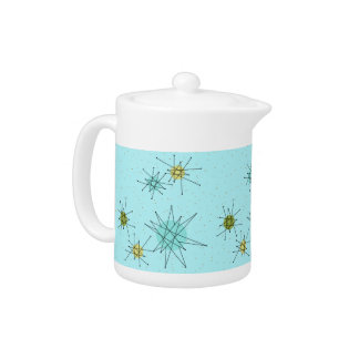 Robin's Egg Blue Atomic Starbursts Teapot