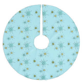 Robin's Egg Blue Atomic Starbursts Tree Skirt