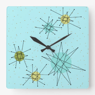 Robin's Egg Blue Atomic Starbursts Wall Clock