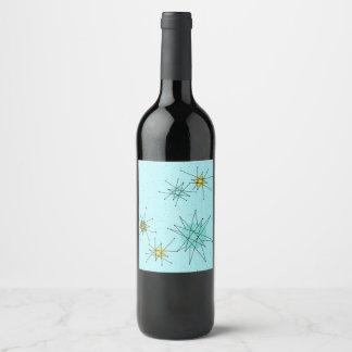 Robin's Egg Blue Atomic Starbursts Wine Label