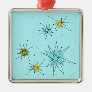 Robin's Egg Blue Atomic Starbursts Xmas Ornament
