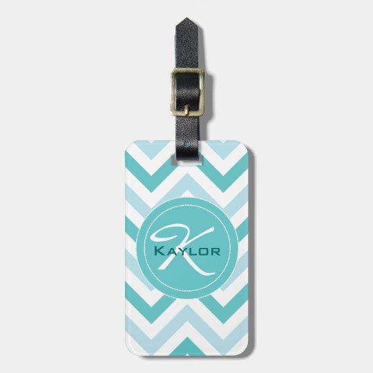 Robin's Egg Blue Chevron Luggage Tag