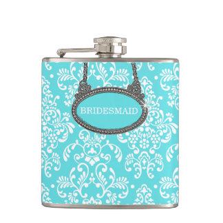 Robins Egg Blue Damask- Wedding Hip Flask