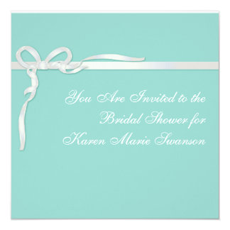 Robin's Egg Blue Jewelry Box with White Ribbon Card