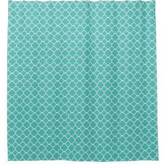 Robins Egg Blue Quatrefoil Pattern Shower Curtain