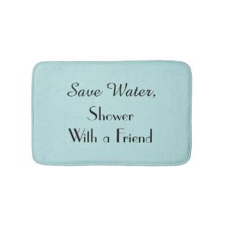 Robins Egg Blue Save Water Funny Plush Bath Mat