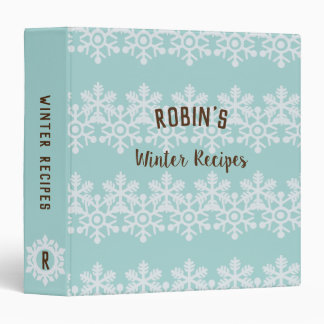 Robins Egg Blue Snowflake Winter Recipes Binder