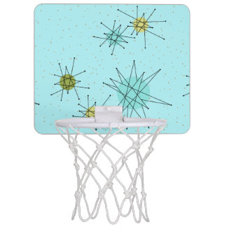 Robin's Egg Blue Starbursts Mini Basketball Hoop