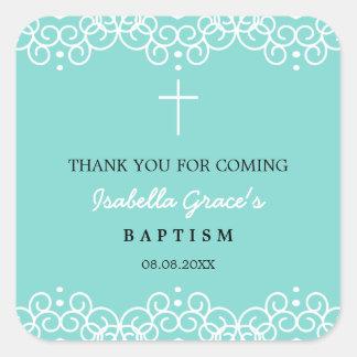 Robin's Egg Blue & White | Baptism Thank You Square Sticker
