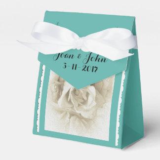 Robin's Egg Blue White Rose For Box Favor Box