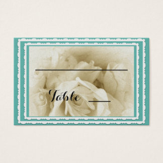 Robin's Egg Blue White Rose Table Place Cards