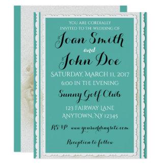 Robin's Egg Blue White Rose Wedding Invitation