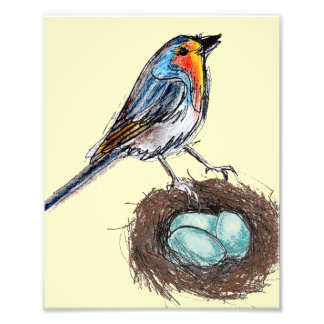 Robin's Egg Nest print art Robin Bird 8x10